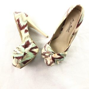 Anne Michelle Mint & Brown Pattern Stiletto Heels